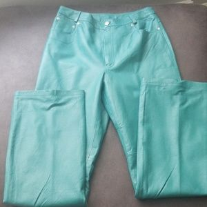 High waisted Flare Teal Leather Pants size 12L